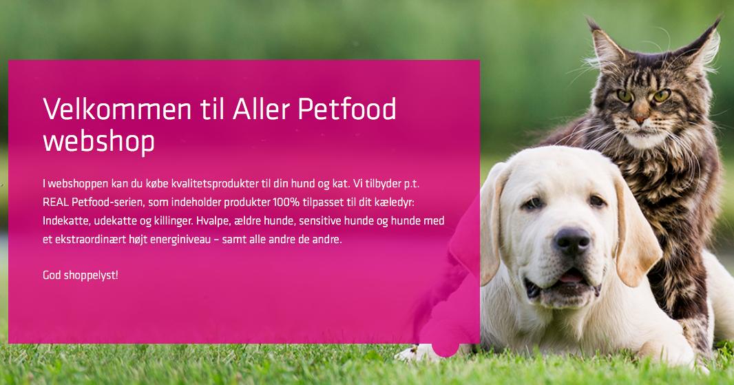 Køb hunde- og kattemad | Gratis smagsprøver | Aller Petfood Webshop